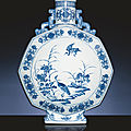 A magnificent and very rare underglaze-blue facetted moonflask. <b>Yongzheng</b> <b>six</b>-<b>character</b> <b>sealmark</b> and of the period (1723-1735).