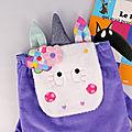Sac à dos licorne fille personnalisé prénom sac bébé girly crèche école maternelle mauve rose paillettes couronne de fleur unicorn toddler backpack with name purple pink