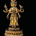 A gilt-bronze figure of avalokiteshvara , tibet, 18th century