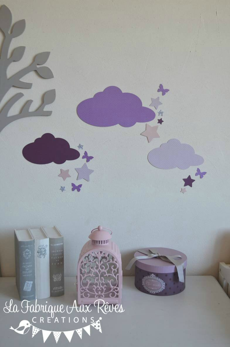 stickers nuage toiles papillons mauve violet parme gris rose poudr d coration chambre b b. Black Bedroom Furniture Sets. Home Design Ideas