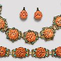 A gilt metal filigree necklace and bracelet with reticulated <b>coral</b> bead inlay