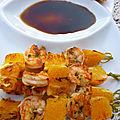 Brochettes de <b>crevettes</b> et Orange a la Plancha