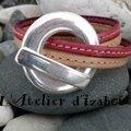 Rose et naturel pour les cuirs cousu de ce <b>bracelet</b> femme <b>double</b> tour de poignet !