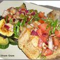 Côte de veau et légumes grillés, salsa de tomate fraîche