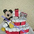 GATEAU DE COUCHES THEME MICKEY DEAPER CAKE - <b>BABY</b> <b>SHOWER</b> - CADEAU NAISSANCE OU BAPTEME Anniversaire