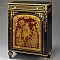 A regency japanned side cabinet. england, circa 1820