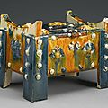 An extremely rare and magnificent blue-splashed sancai pottery money chest, Tang dynasty