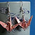 Vendues - origami - boucles d'oreilles roses washi 06-13