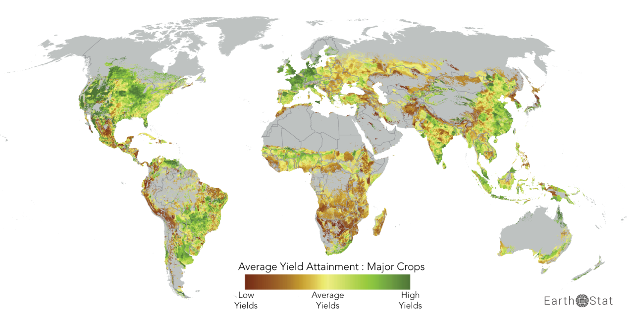 Yield gaps for major crops of the world