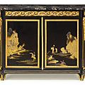A rare Louis XVI ormolu-mounted ebony and japanese black and gilt lacquer commode (meuble d'appui), circa <b>1765</b>, stamped Carlin
