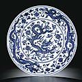 A magnificent blue <b>and</b> white 'dragon' dish. <b>Mark</b> <b>and</b> <b>period</b> <b>of</b> <b>Xuande</b> (<b>1426</b>-<b>1435</b>)