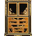 A Louis XVI ormolu-mounted ebony and japanese black and gilt lacquer secrétaire à abattant. Circa 1780, stamped twice M <b>Carlin</b>