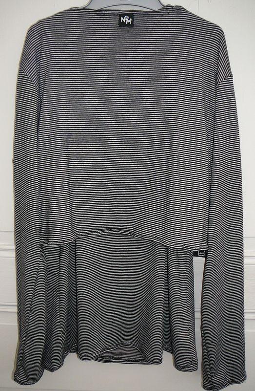 Gilet Court Jersey rayé Noir/Gris