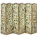 Paravent à six feuilles, en toile peinte, xviiie siècle