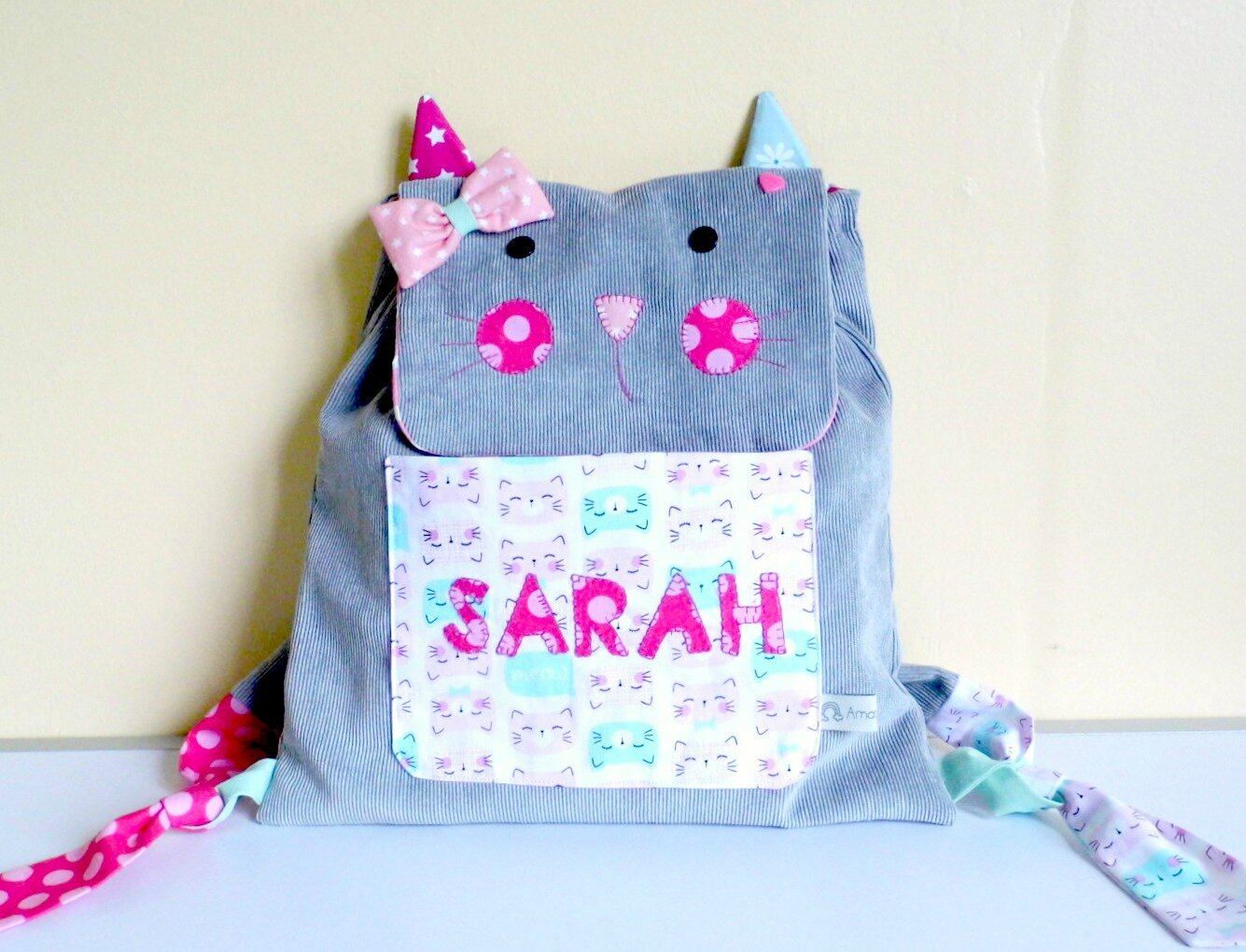 Sac maternelle enfant chat Sarah