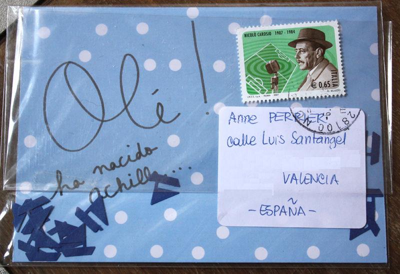 Enveloppe avec confettis-bâteaux pour famille de marins