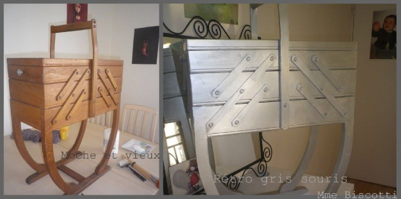 ma travailleuse en bois relook e biscotti. Black Bedroom Furniture Sets. Home Design Ideas