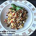 Salade de lentilles et riz complet aux poivrons ( 330 cal/par personne)
