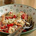 Encore du frais et toujours du vite prêt : bol de tomate olivette, feta, crevettes & graines germees d'alfalfa