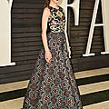<b>Hailee</b> <b>Steinfeld</b> wore Andrew Gn PreFall 2015 ikat-inspired embroidered gown at the Vanity Fair Oscar party