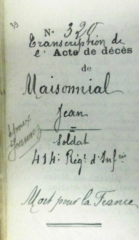 Maisonnial Jean, transcription acte décès (1)