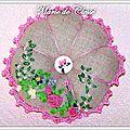 Citrouille pique aiguilles roses brodées rubans tour crocheté rose 20x3cm