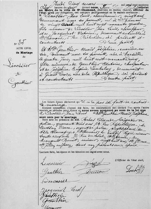 acte de mariage de Jean Louis Linossier 1914