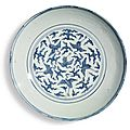 A large blue and white 'cranes' dish, jiajing mark and period (1522-1566)