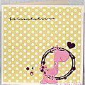 carte de naissance fille avec girafe rose