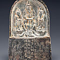 A rare small dark <b>grey</b> <b>stone</b> Daoist stele, Tang dynasty, dated by inscription to AD 719