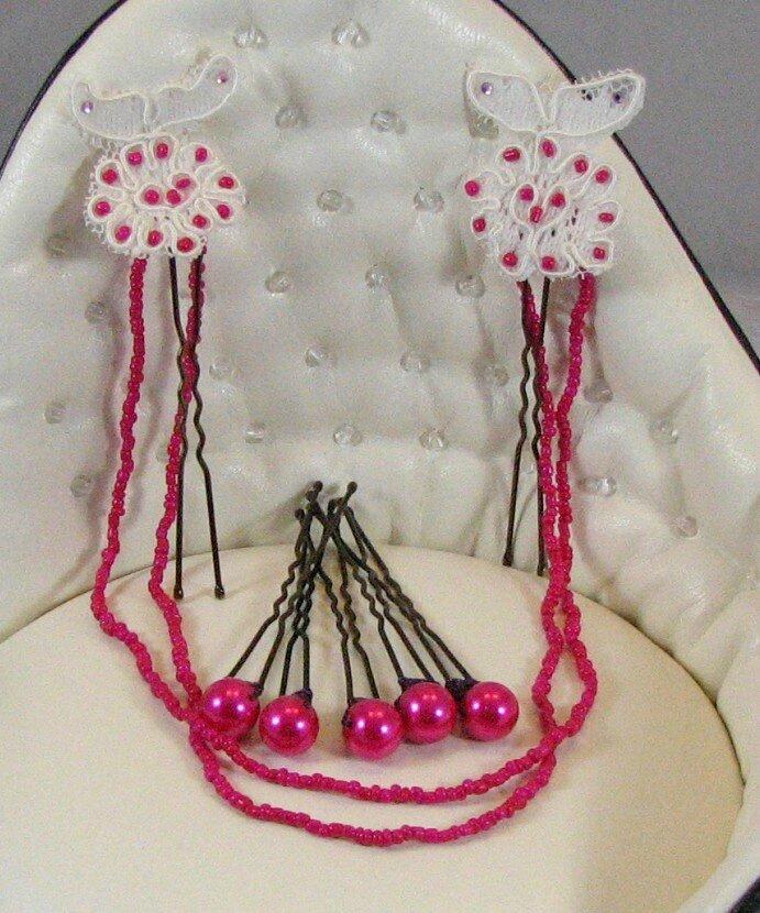 bijoux cheveux mariée dentelle ivoire fuschia 2