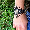 Manchette Bracelet <b>micro</b>-macramé large Bohême noir pierre Obsidienne argentée