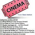 Défi Cinéma, catégories 111, 13, 89, 69, 71, 33, 19, 80, 15, 17 ... #30/150
