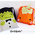 Mini tote bag pour halloween (patrons et explications)