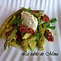 Salade d'asperges vertes et quenelle mascarponne a l'huile de truffe