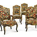 A suite of Italian <b>Rococo</b> green-painted and parcel-gilt chairs, mid-18th century