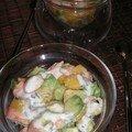 Verrines fraîcheur : crevettes-avocats-mangue