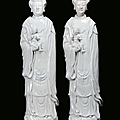 A pair of blanc de chine porcelain guanyin, china, qing dynasty, 18th century