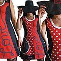 MOD 398A Robe Rouge Saint Valentin coeur pois noir fantaisie originale cadeau femme made in France