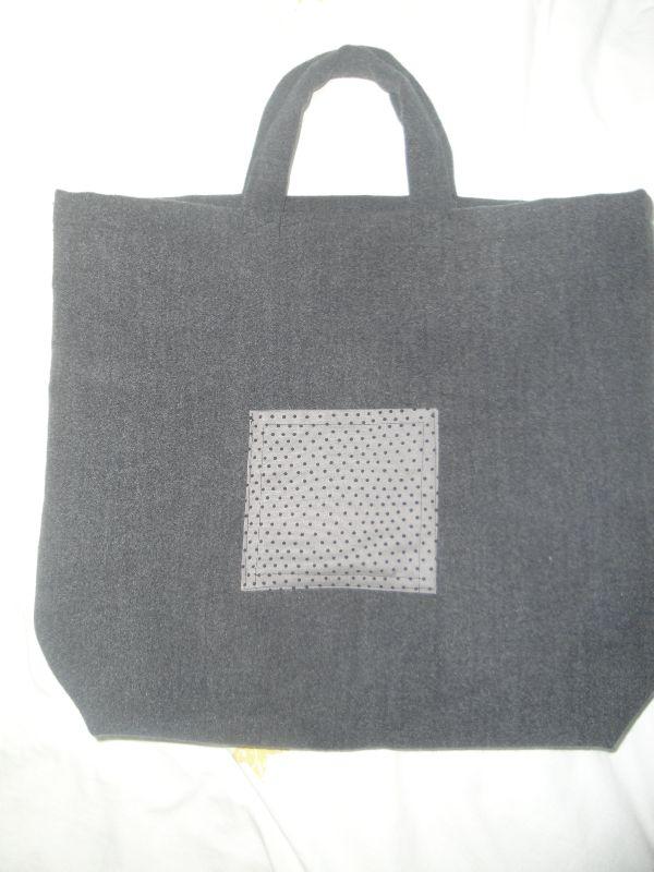 cabas gris lainage et pois gris (3)