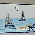 De beaux voiliers avec le set de tampons Terre à l'horizon