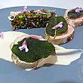 Mignon de porc, lentilles vertes et petits pois, crème de sauge