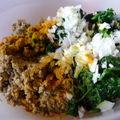 Boulettes de céréales et légumes secs aux épinards
