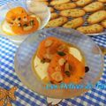 Crème légère miel & fleur d'oranger, abricots rôtis flambés aux amandes et pistaches