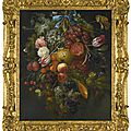 Jacob Rotius (Hoorn 1644 - 1681/82), Festoon of <b>fruit</b> <b>and</b> <b>flowers</b>, with butterflies <b>and</b> other insects