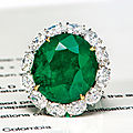 A 37.06 carat no oil <b>Colombian</b> <b>emerald</b> <b>and</b> <b>diamond</b> <b>ring</b>