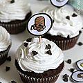 Cupcake chocolat (lait fermenté) et glaçage crème de coco