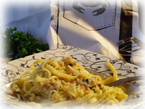 """ღ """" Miam """" Pâtes au Crabe sauce persillade ( façon CrabHouse USA )"""