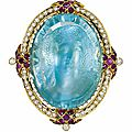 An antique aquamarine, diamond and ruby cameo-brooch, <b>circa</b> <b>1870</b>