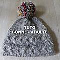 <b>TUTO</b> BONNET GROSSES TORSADES SANS COUTURE